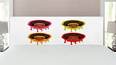 Lunarable Afro Headboard, Watermelon Kiwi Strawberry and Orange Earrings Colorful with American Girls, Upholstered Decorative