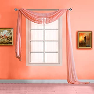 Warm Home Designs Extra Long Pink Orange (Coral) Sheer Window Scarf. Valance Scarves are 56 X 216 Inches in Size. Great As Window Treatments, Bed Canopy Or for Decorative Project. Color: Coral 216