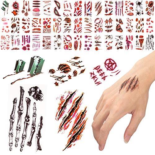 300 patrones de tatuajes temporales de Halloween, cicatriz sangrante de heridas de sangre para maquillaje de Halloween, calcomanías faciales, bromas y zombis, suministros para fiestas