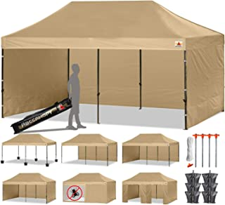ABCCANOPY Deluxe 10 X 20 Pop up Canopy Tent Commercial Instant Gazebos with 9 Removable Walls and Roller Bag and 6 Weight Bags (Beige)