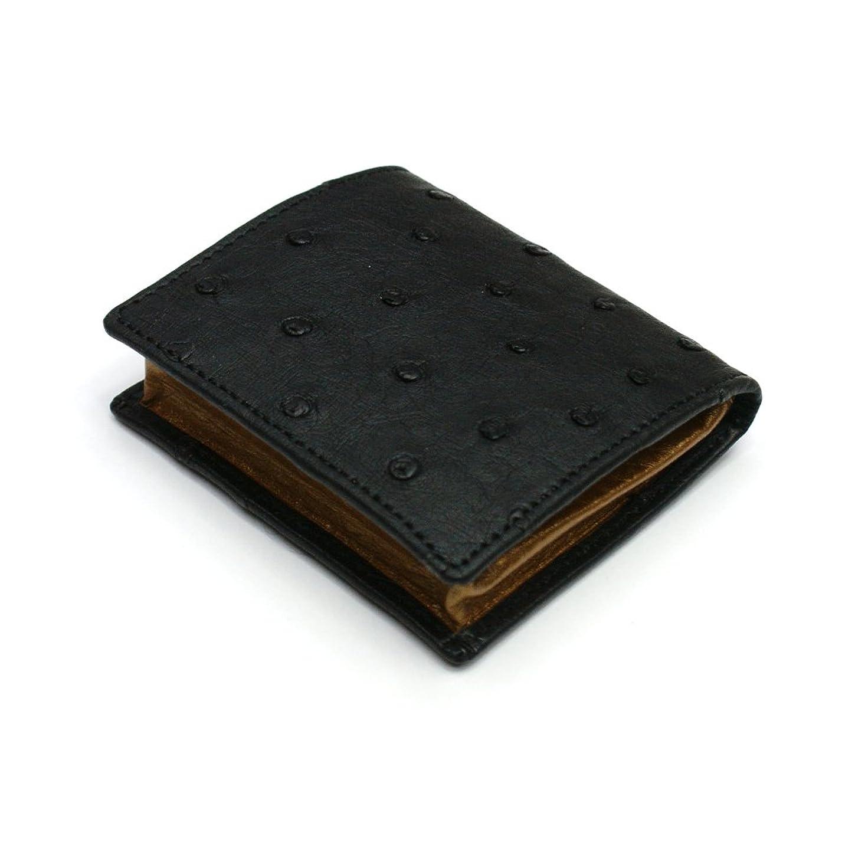 分岐するタックスリップシューズOST1140-BLACK オーストリッチ 小銭入れボックス型【駝鳥革】【BOX型小銭入れ】ブラック
