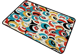 shirlyhome Doormat Psychedelic Heavy Duty Doormat Retro Theme Circle Pattern Evil Eyes Design Techno Trance Design Art Print Rectangle 31 x 47 inch Multicolor