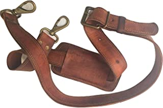Leather Adjustable Padded Replacement Shoulder Strap with Metal Swivel Hooks for Messenger, Laptop, Camera, Duffle Bags