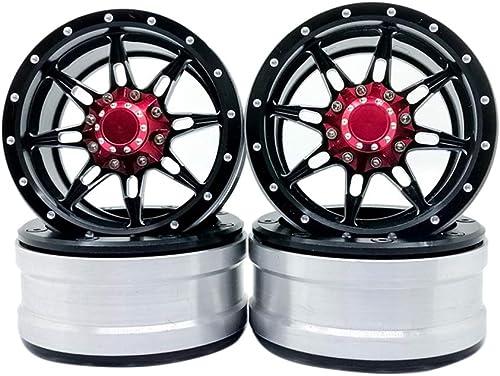 todos los bienes son especiales Toyvian RC Wheel Rim Accesorios Accesorios Accesorios metálicos para 1 10 RC Crawler Car 4PCS (negro rojo)  Precio por piso