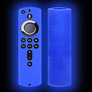 FlyKits Case Cover for Fire TV Stick 4K / Fire TV(3rd Gen) / Fire TV Cube - Luminous Silicone Anti Slip Shockproof Protective Holder Compatible with All-New 2nd Gen Alexa Voice Remote Control (Blue)