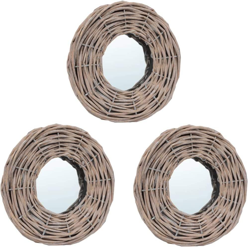 Unfade Memory 5%OFF Hanging Wall Mirror 大注目 Natural Frame with Rus Wicker