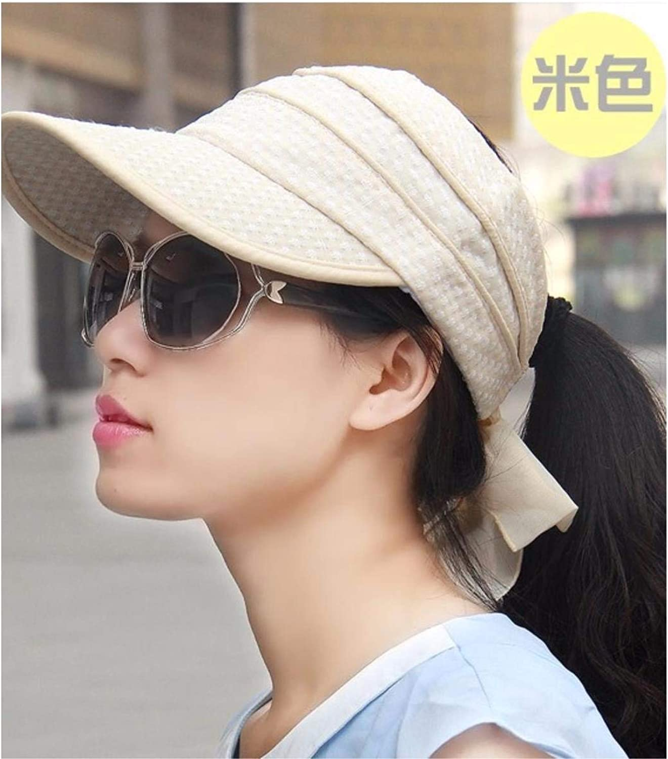 Chuiqingnet Hat female small fresh summer cap collapsible Tai Tau Wai empty top hat visor, cycling cap cap sun cap is cool
