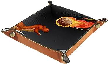 KAMEARI Skórzana taca dinozaur i miernik Crashing Earth Key Phone Coin Box Skóra bydlęca Taca na monety Praktyczne pudełko...