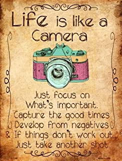 Smart Blonde Life Is Like A Camera Metal Novelty Parking Sign P-1166