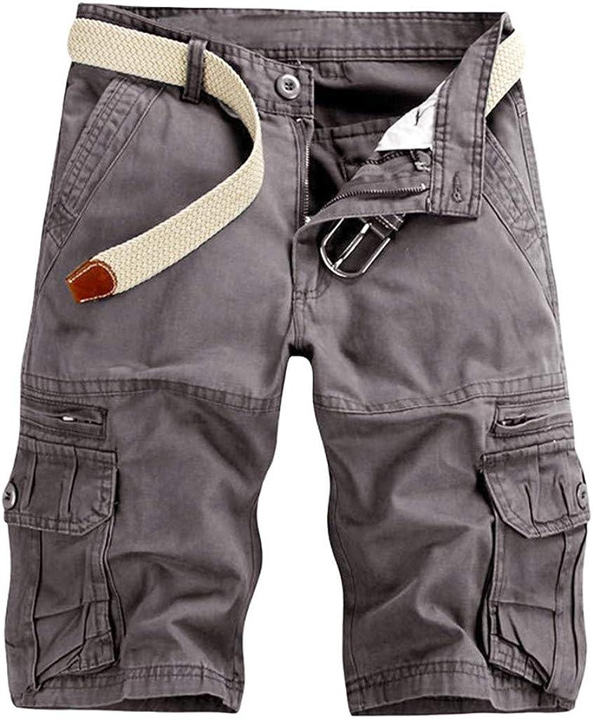 iLXHD Men's Work Pants Casual Pure Color Outdoors Pocket Beach Cargo Shorts Pant Board Shorts