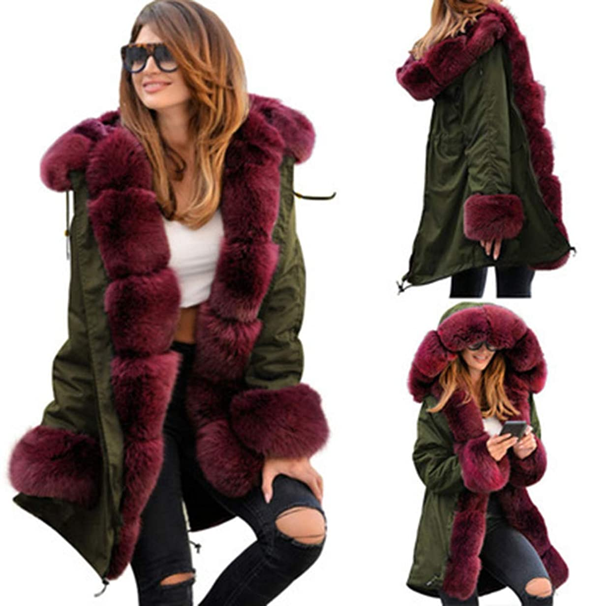 ブームアーサーコナンドイル個性ウィンタージャケット女性コットンWaddedフード付きコートカジュアルレディースWarm Parkasレディースウィンターコート,Red,XL