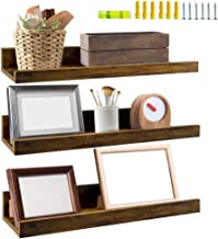 Giftgarden 16 Inch Floating Shelves for Wall Set of 3, Rustic Wall Mounted Picture Ledge Small Wall Shelf for Bedroom Bath...
