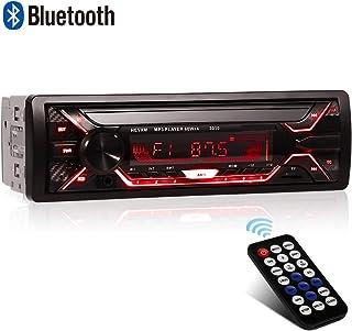 Autoradio Bluetooth, 1 Din Radio de Voiture, 4x60W Poste Radio 7 Couleurs FM Stéréo..