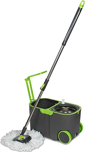 WOTRA Plastic Standard Prime Spin Bucket mop with Easy Wheels for Magic 360 Degree Cleaning and 3 Refills Green Grey Large