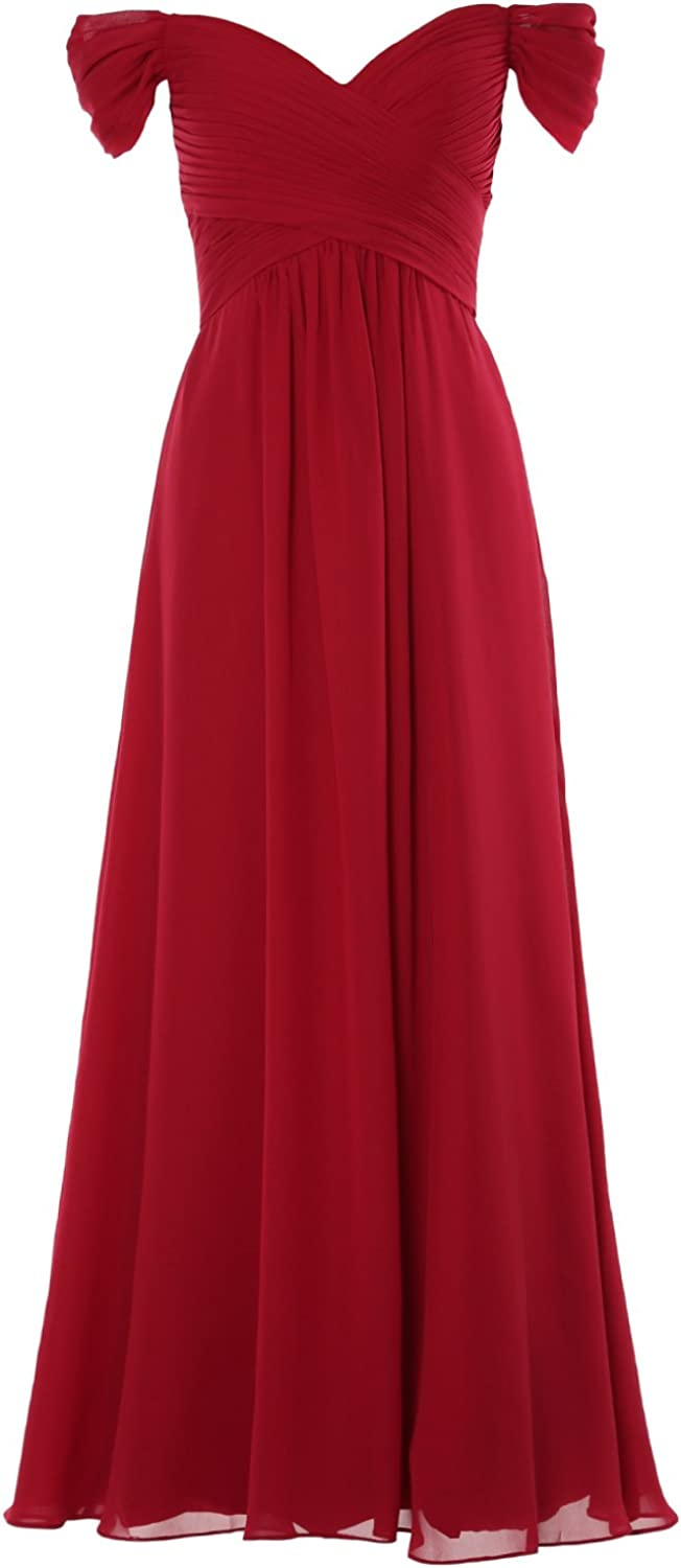 1950s History of Prom, Party, Evening and Formal Dresses MACloth Women Prom Gown Off The Shoulder Long Wedding Party Bridesmaid Dresses  AT vintagedancer.com