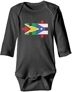 Mri-le1 Baby Boy Girl Bodysuits Guyana USA Flag Heart Infant Long Sleeve Romper Jumpsuit