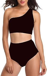 Women One Shoulder Push Up Swimsuits High Waist Bikini Set 2 Pieces Bathing Suits
