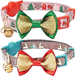 two cat collars with reindeer and christmas tree patterns