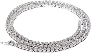 Diamond Tennis Necklace Cluster Chain for Men or Women 5.40ctw 22 Inch White gold-Tone Silver 4mm Wide