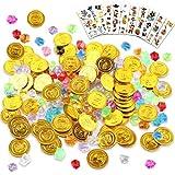 Esportic Monedas Doradas de Plástico de Pirata, Gemas Piratas del Tesoro Pirata, Plastico Monedas, Fiestas Temáticas Piratas Monedas Oro Juguete, Monedas de Oro y Gemas (160+10)