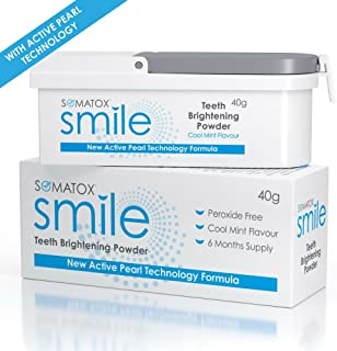 SOMATOX Smile - Teeth Brightening Powder - with Active Pearl Technology • Peroxide Free Whitening Kit • Better Than Whitening Strips & Gel - 6 Months Supply | Cool Mint Product of UK