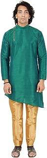 Maharaja Mens Raw Silk Indian Ethnic Designer Kurta Pyjama Set for Diwali Festival Occasion Wear in 5 Colour Varients