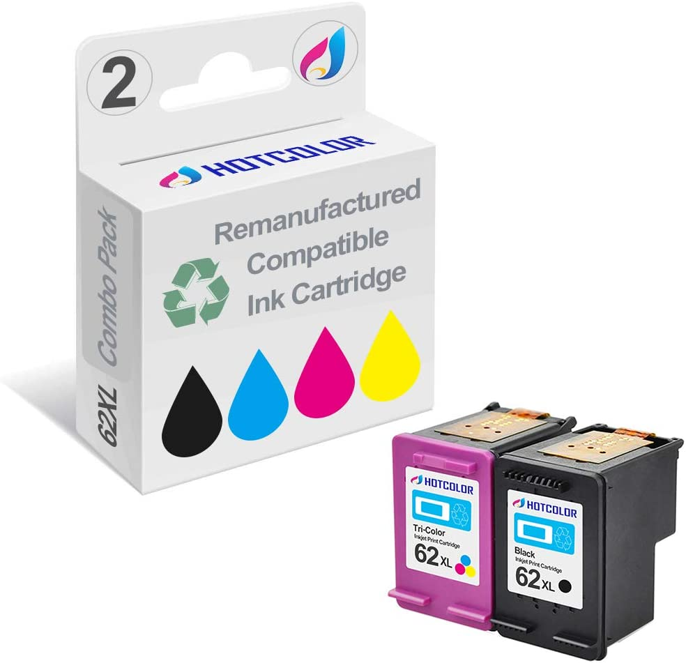 HOTCOLOR 2-Pack 62 XL Remanufactured Ink Cartridge Replacement for HP 62XL Black C2P05AN for Envy 5540 5541 5542 5543 5544 5545 5547 5548 5549 5640 5642 Printer