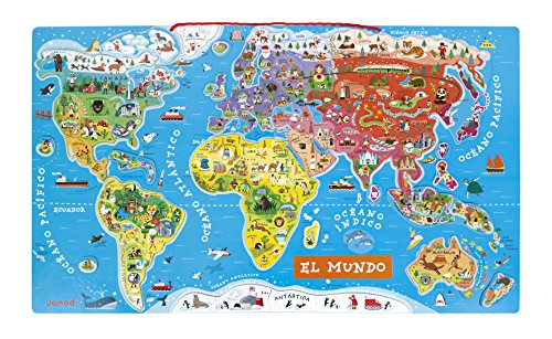 Janod - Puzzle magnético Mapa del Mundo en madera- 92 piezas magnéticas - 70 x 43 cm - Versión Española - Juego educativo a partir de 7 años, J05503