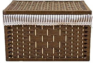 Panier de rangement Boîte de rangement Rotin avec couvercle Boîte de rangement for vêtements Panier de rangement for jouet...