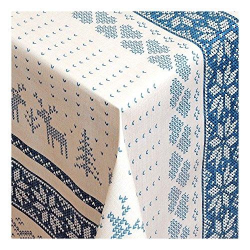 WACHSTUCH Tischdecken Wachstischdecke Gartentischdecke, Abwaschbar Meterware, Länge wählbar,Norwegischer Winter winterlische Tischdecke mit nordischem SELBUROSE Elchmotiv Blau (231-04) 100cm x 140cm