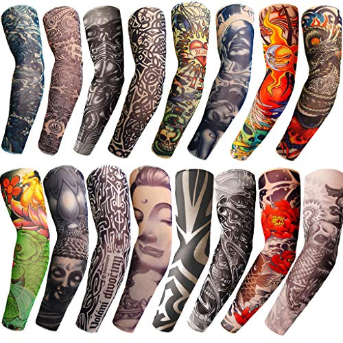 Nylon Arts Fake Temporary Tattoo Arm Sunscreen Sleeves-Tattoo Soft for Men Women (One size fits most, 28)