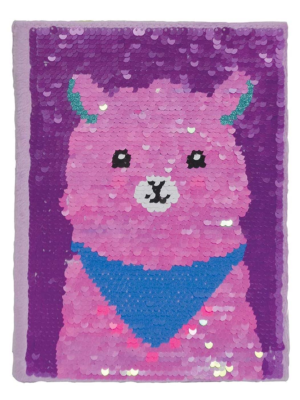 拷問王女腫瘍iscream Glittery Flip Sequin Glama Llama Book-Bound Lined-Page 22cm Journal