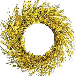 Silk Flower Arrangements Bibelot 18inch Artificial Forsythia Flower Wreath, All Year Around Wreath for Front Door, Wedding Window Home Wall Indoor Front Door Decor (Yellow, 18in)