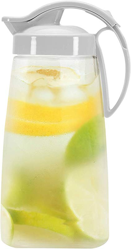 QuickPour Airtight Pitcher With Locking Spout Japanese Made For Water Coffee Tea Other Beverages 2 3 Quarts Clear With White Top