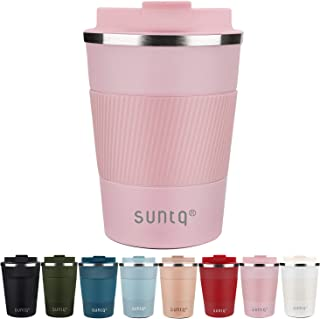 SUNTQ Reusable Coffee Cups Travel - Coffee Travel Mug with Leakproof Lid - Thermal Mug Insulated Cup - Stainless Steel Tra...