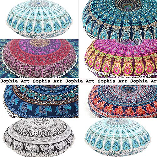 "Sophia Art 5 Piezas de 32"" Hippie Mandala Wholesale Lote Almohada de Suelo Cojín de Asiento Manta Cubierta Pouf Redondo Bohemio Yoga Decor Suelo Funda de Cojín 32"""