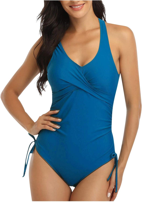 iCJJL Women 1 Piece Swimsuit Tummy Control Swimwear V Neck Bathing Suit Front Cross Drawstring Bikini Beach Swimsuit (X-Large,Blue)