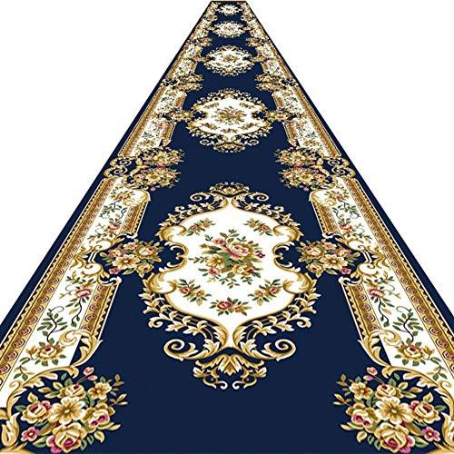WEIJINGRIHUA Long Hall Corredor Estrecho Pasillo Medio-Grueso Superficie Cubierta Estilo Europeo Mantas, Alfombras del Pasillo del Hotel De Largo (Color : Blue, Size : 1x2m)