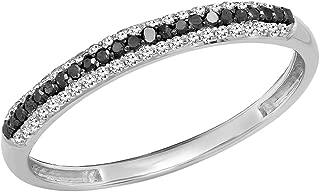 Dazzlingrock Collection 0.23 Carat (Ctw) 10K Gold Round Black & White Diamond Ladies Anniversary Wedding Stackable Band
