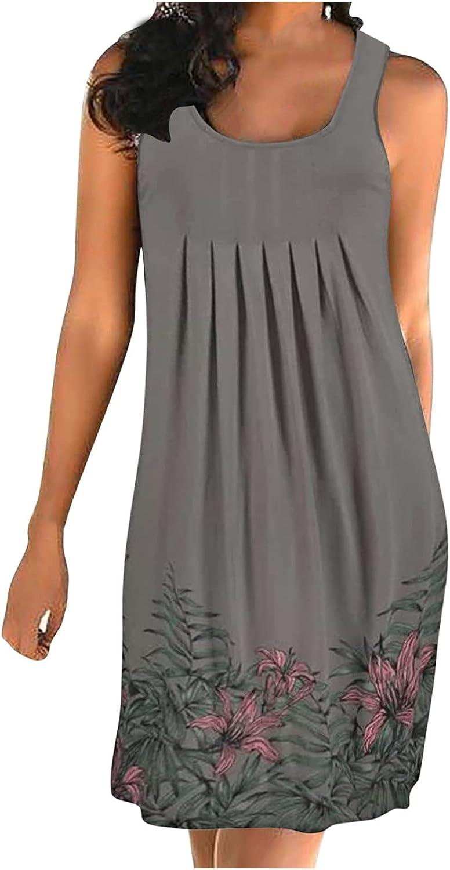 Assletes Women's Knee-Length Dress Printing O-Neck Loose Casual Fashion Summer Vest Sleeveless Dress