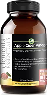 Elementa Essentials Organic Apple Cider Vinegar Capsules | Extra Strength 1500mg 120 Capsules| Natural Detox and Digestive Support | Appetite Suppressant | Reduce Sugar Cravings, Healthy Blood Sugar |