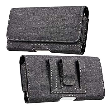 Luxmo Samsung Galaxy A21 Belt Clip Holster - Horizontal Rugged Nylon Phone Holder Pouch Carrying Case  2 Card Slots/Coin Pockets  and Atom Wipe - Dark Gray