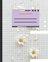 Composition notebook graph paper 100 pages Top view white daisy flowers petals yellow pollen against white backdrop cover,...