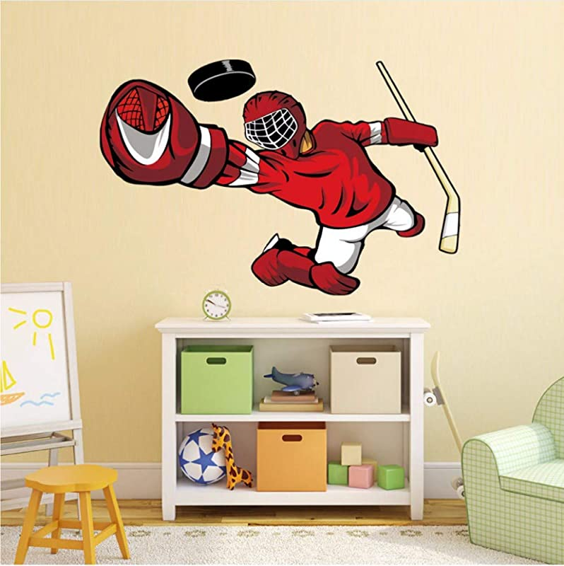 FFYYJJLEI Cartoon Hockey Goalie Color Wall Sticker For Kids Bedroom Decoration Removable Waterproof Wallpaper Wall Art Decals Home Decor