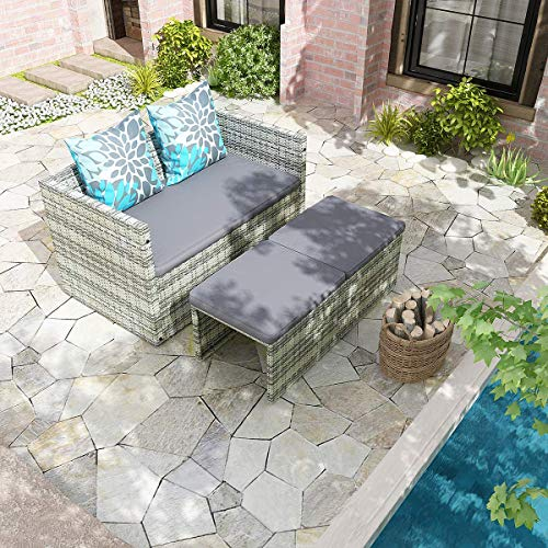 YITAHOME Multifunctional Outdoor Patio Furniture Sets, All Weather Sectional Sofa Conversation Set, Small Wicker Patio Set for Garden Lawn Backyard, Gray Gradient