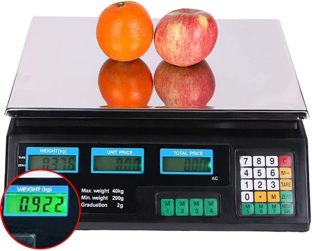 Pesaje Digital 40Kg Pesaje Digital de Frutas Computing Escala de Precios electrónica para el hogar/Tienda,Verde