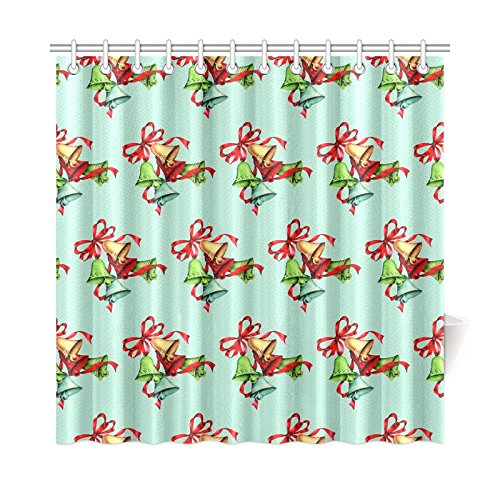 TIANYUSS Home Decor Bath Curtain Bells Retro Christmas Paper Ribbon Polyester Fabric Waterproof Shower Curtain For Bathroom, 72 X 72 Inch Shower Curtains Hooks Included