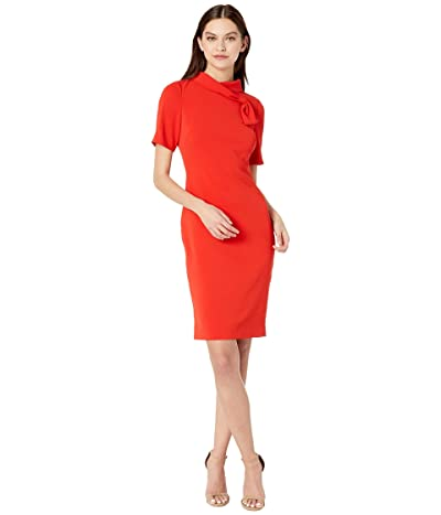Badgley Mischka Band Neck Mock Front (Coral) Women