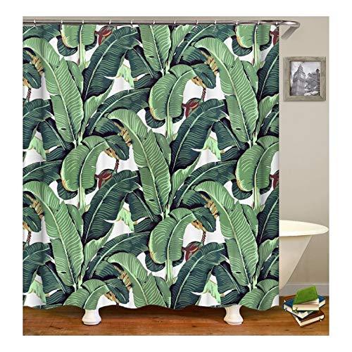 KnSam Duschvorhang Anti-Schimmel Wasserdicht Badewanne Vorhang Bad Vorhang für Badezimmer Banana Bananenblatt 100prozent PEVA inkl. 12 Duschvorhangringen 180 x 200 cm