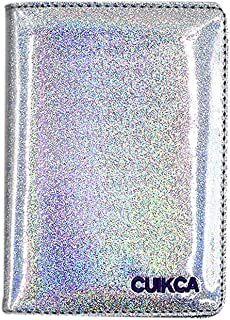 KINGSEVEN Passport Holder Cover Case Credit Card Wallet RFID Blocking Sequin Hologram Driver License Holder